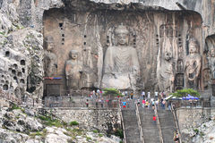 Longmen Grottoes with Buddhas figures in Luoyang, China Stock Photos
