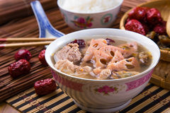 Chinese traditional lotus root soup Royalty Free Stock Photos