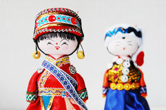 Chinese traditional lovers dolls. With colorful clothes stock images
