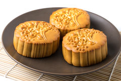 Chinese traditional mooncake , on plate Stock Photos