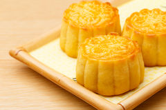 Chinese traditional mooncake on plate Stock Image