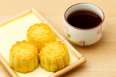 Chinese traditional mooncake and tea Royalty Free Stock Image