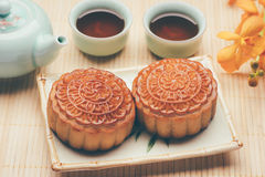 Chinese traditional mooncake and tea Stock Photo