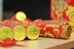 Chinese traditional New Year party poppers. At Spring Festival stock image