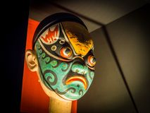 Chinese traditional opera man blue mask head stock photos