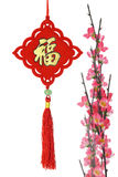 Chinese traditional ornament and plum blossom Stock Photos