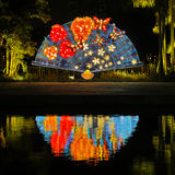 Chinese Traditional Paper Fan Lantern. For Chinese New Year 2014, in Liwan Park, Guangzhou city, Guangdong province, China Royalty Free Stock Images