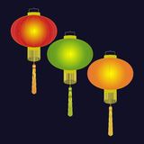 Chinese traditional paper lantern. Colorful lights upon black background. Flat stock illustration stock illustration