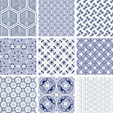 Chinese traditional patterns. A set of nine traditional chinese patterns in blue colors Royalty Free Stock Image
