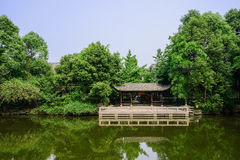 Chinese traditional pavilion at woody lakeside in sunny summer Stock Photos