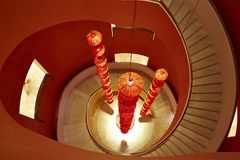 Chinese traditional red lamps and rotation stairs stock images