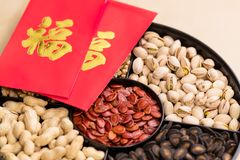 Chinese traditional snack box tray with red pocket word meaning. Luck stock image