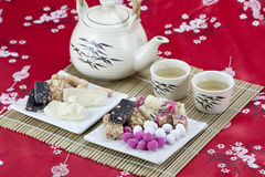 Chinese traditional snacks with tea Stock Photos