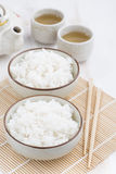 Chinese traditional steam white rice and green tea Royalty Free Stock Photos