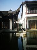 Chinese traditional style house with lawn stock photo