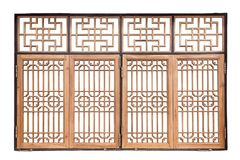 Chinese traditional style wooden window on isolated white backgr Royalty Free Stock Images