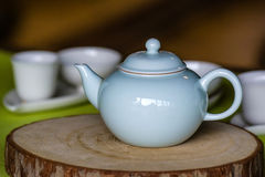 Chinese traditional teapot on Wooden mat Stock Photography