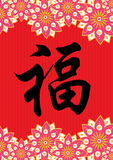 Chinese traditional texture. Oriental texture icon with chinese prosperity wording Royalty Free Stock Image