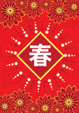Chinese traditional texture. Oriental texture icon with chinese spring wording Stock Photo