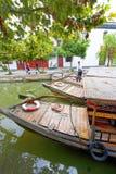 Chinese traditional water taxis, Zhujiajiao, China. Chinese traditional water taxis tied together waiting for customers, Zhujiajiao, China stock images