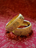 Chinese traditional wedding bangles. Chinese traditional wedding gold bangles Royalty Free Stock Images