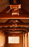 Chinese traditional wooden brown lamp in corridor Royalty Free Stock Images