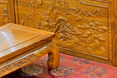 Chinese traditional wooden furniture. Part of flowery style wooden furniture in Chinese traditional luxury style Royalty Free Stock Photos