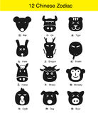12 chinese Traditional zodiac animal face flat icon design Stock Photo