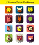 12 chinese Traditional zodiac animal face flat icon design Royalty Free Stock Photos