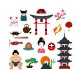 Chinese traditionele cultuurlantaarns en objecten vectorillustratie Stock Fotografie