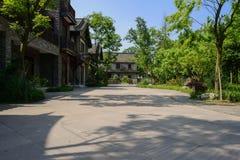 Chinese traditionele gebouwen langs flagstone-bedekte straat in su royalty-vrije stock foto's
