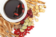 Chinese traditionele kruiden en geneeskunde stock afbeeldingen