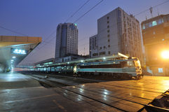 Chinese   train pass railway station Stock Images