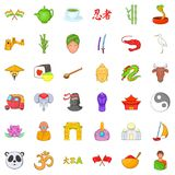 Chinese travel icons set, cartoon style stock illustration