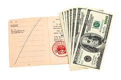 Chinese Travel permit and US dollars Royalty Free Stock Photo