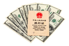 Chinese Travel permit and US dollars Stock Photo