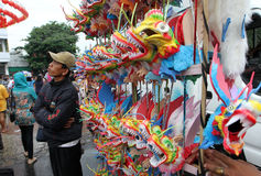 Chinese trinkets. Street vendors selling trinkets typical of China while welcoming the new year in the city of Solo, Central Java, Indonesia stock photos