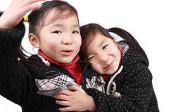Chinese twins girls royalty free stock images