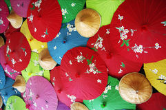 Chinese umbrella. Many different colors of umbrella Royalty Free Stock Photos