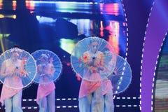 Chinese umbrella dance Royalty Free Stock Photo