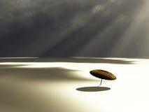 Chinese Umbrella On Desert Royalty Free Stock Images