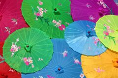 Chinese Umbrellas, Screens Royalty Free Stock Images