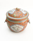 Chinese urn. Decorative painted china urn with matching cover Royalty Free Stock Image