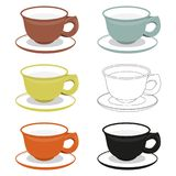 Cups and saucers of different cly types. Chinese utensil illustration set. Cups and saucers of different cly types. Vector illustration can be used as sticker Stock Images