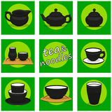 Chinese utensils icon set. Tea and noodles. Stock Images