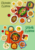 Chinese and uzbek cuisine asian dinner icon set Royalty Free Stock Images