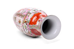 Chinese vase. Isolated over white - perspective view with clipping-path Royalty Free Stock Photography
