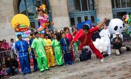 Chinese vechtsporten op het festival van de Maan in Parijs Royalty-vrije Stock Foto's
