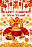 Chinese vector de groetkaart van Nieuwjaar gouden symbolen Royalty-vrije Stock Afbeeldingen