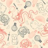 Chinese  vector seamless pattern.  Hand drawn sketch illustratio Royalty Free Stock Photography
